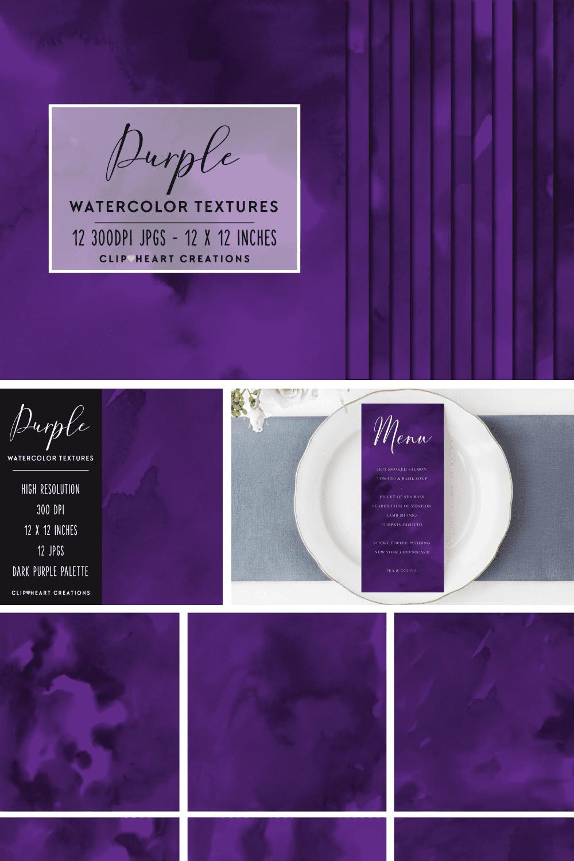 Deep purple watercolor papers.