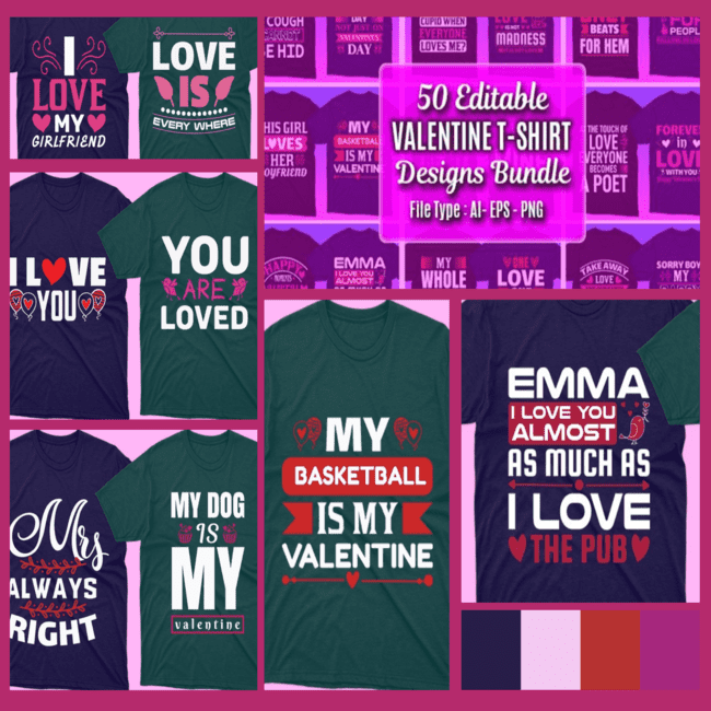 50 Editable Valentines day T shirt Designs Bundle cover image.