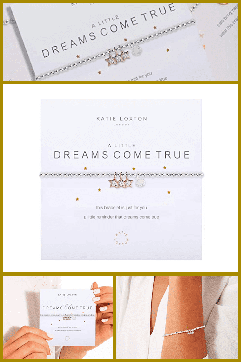 Girly paper reminder. It consists of a gold font and cute stones, which are made to look like precious ones.