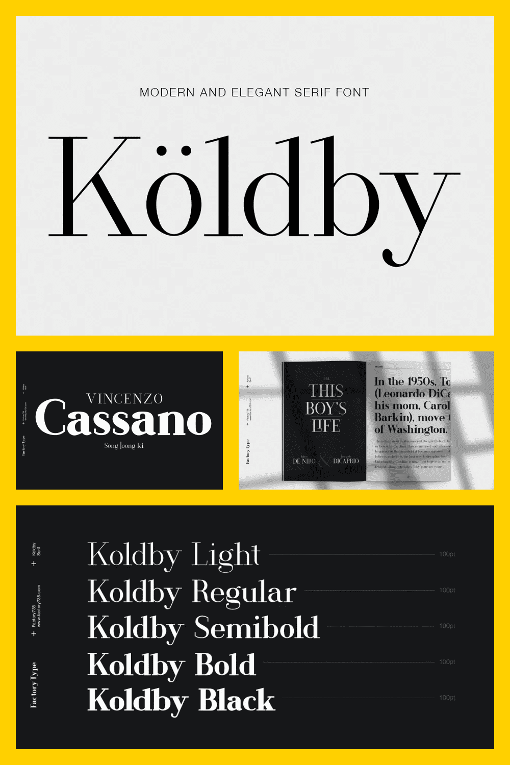 It is a modern and stylish serif font family. The combination of modern and vintage elements creates an elegant design.