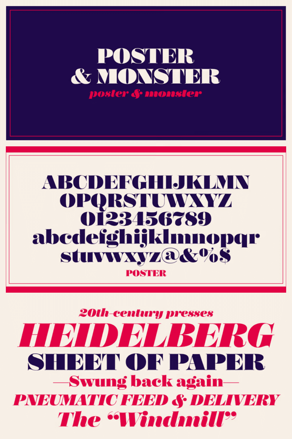 Vintage typeface with long letters and vibrant colors.