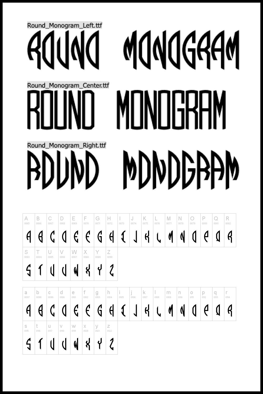 Round monogram font.