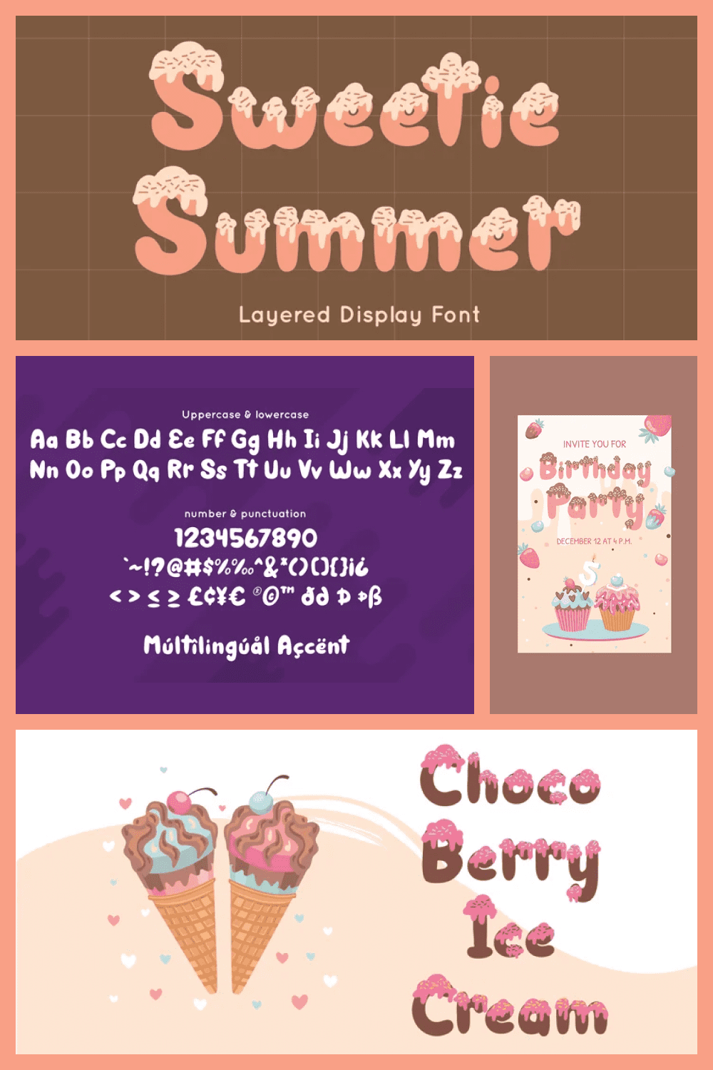 Sweetie Summer inspired by summer ice cream. Perfect display font for summer business, summer flyer, summer sign and summer decor.