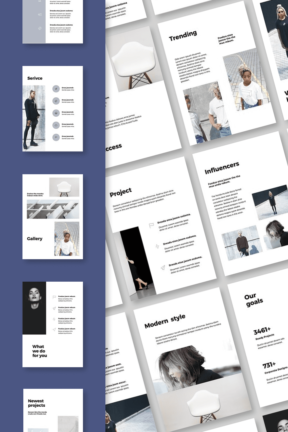 The collection of the template includes icons, infographics and diagrams, customized for the general style.
