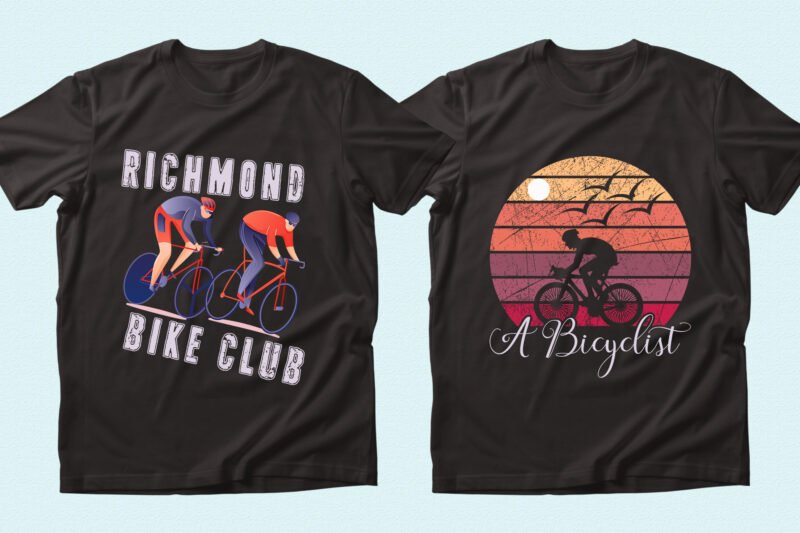 Two black t-shirts with bright illustrations.