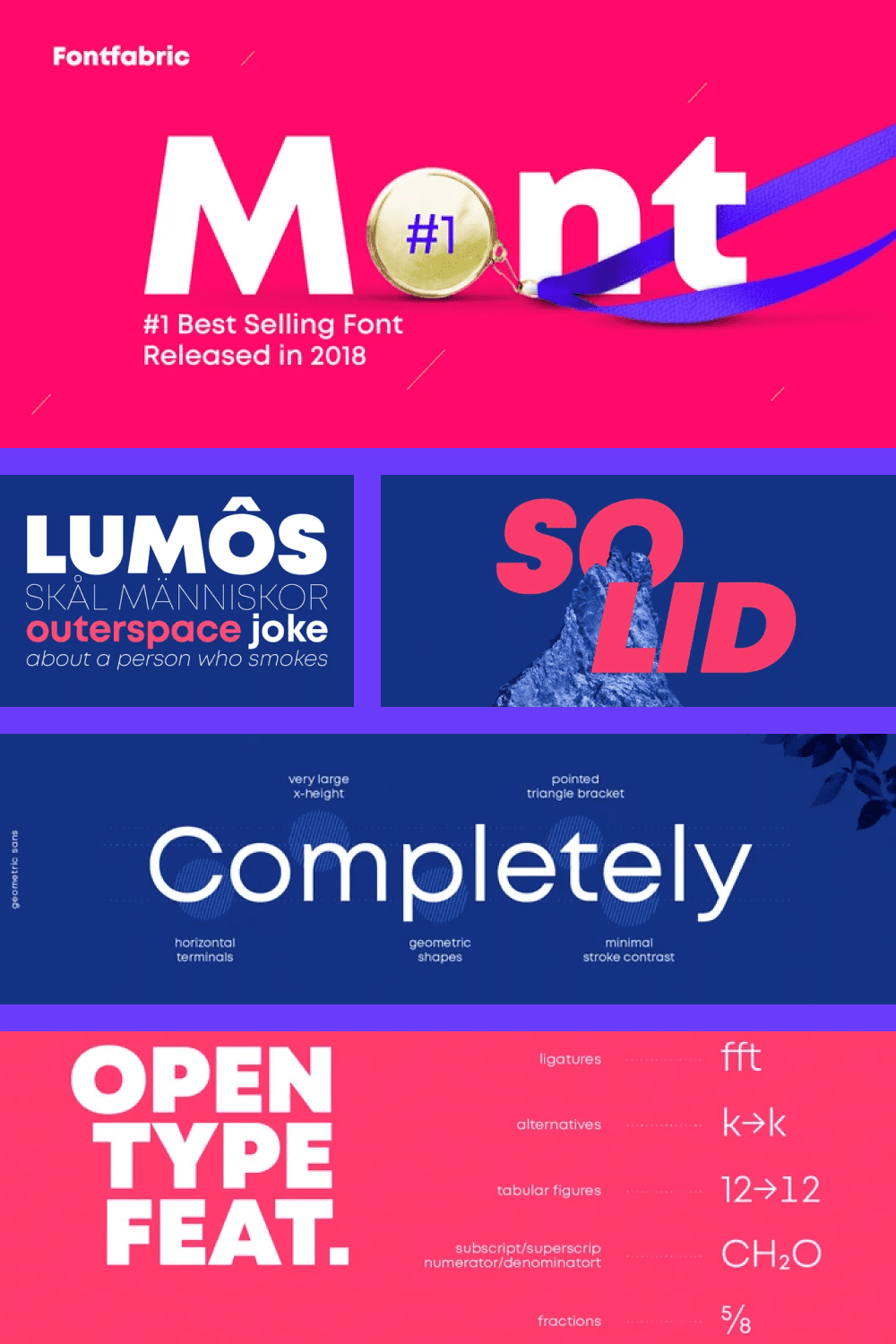 Mont is a geometric sans serif consisting of 10 weights ranging from Hairline to Black with matching italics.