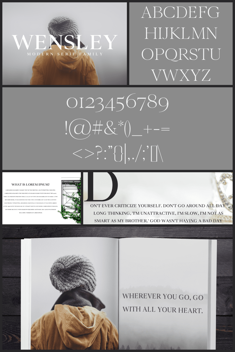 Wensley is a creative modern serif font with a high-class appeal.