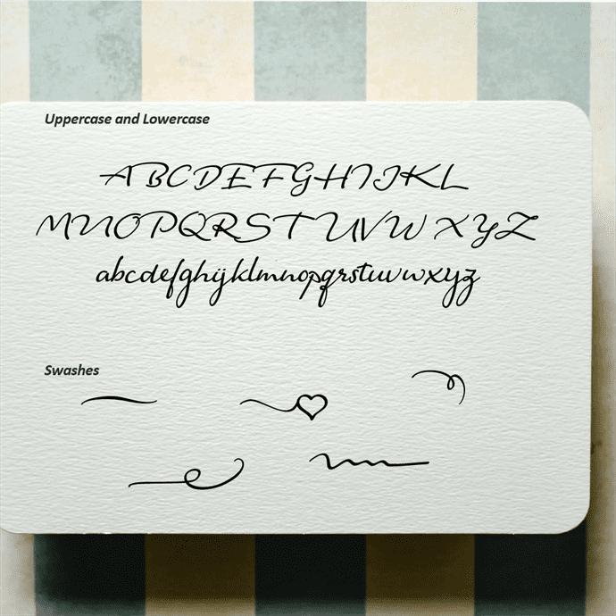 Fantine Modern Script Font Alphabet Preview.