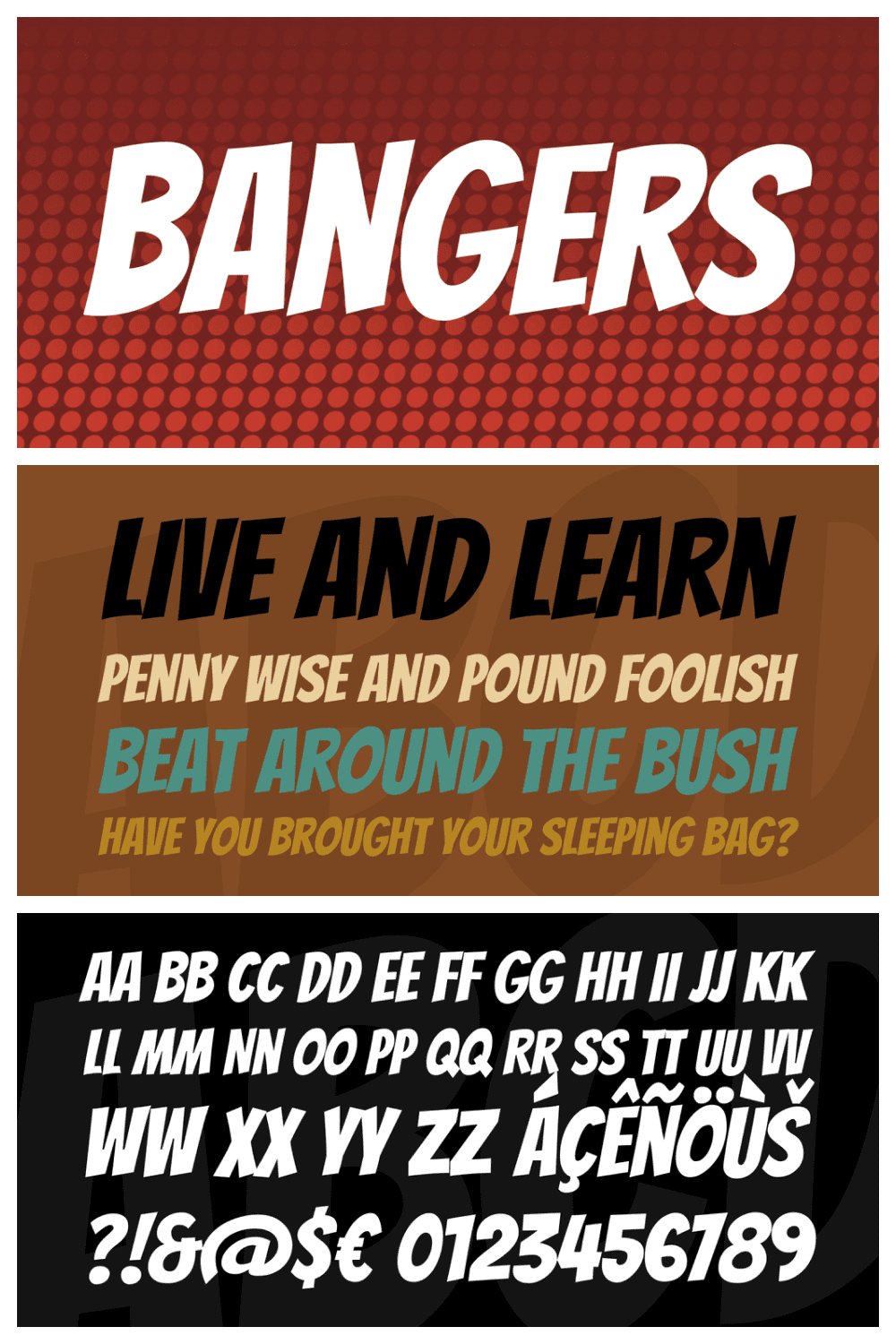 Bangers is a comicbook style font which packs a punch.