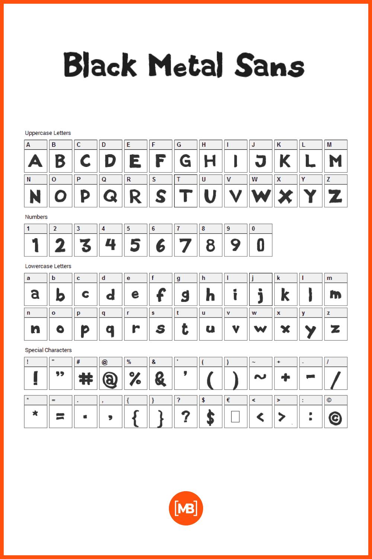 Basic bold font.