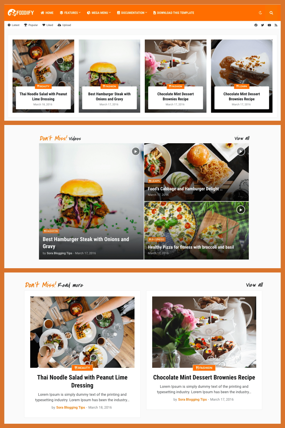 This is a stylish and delicious food blog template.