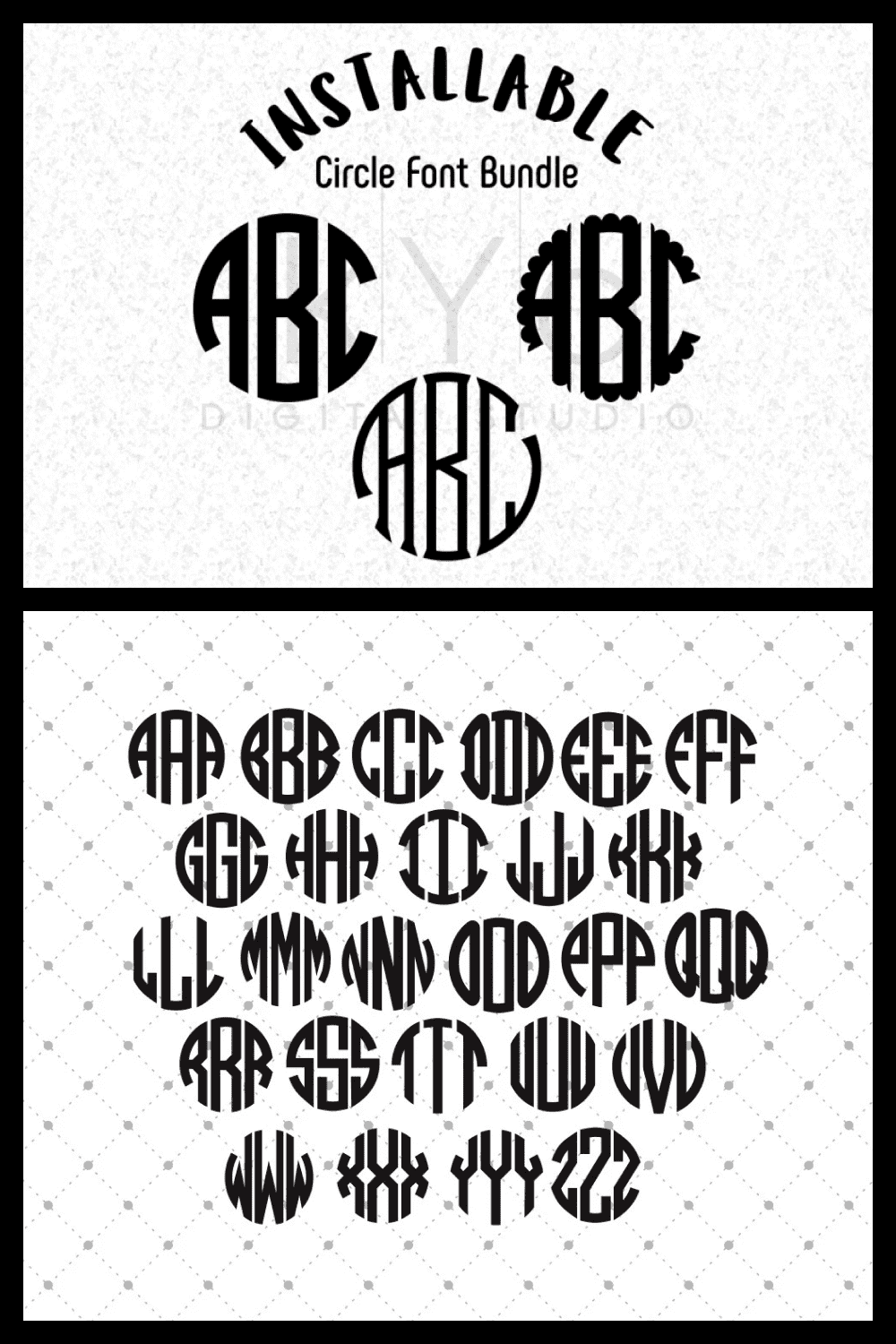 Font in circle.