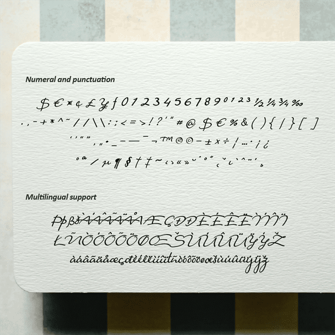 Fantine Modern Script Font Collage Image with Numeral and Punctuation.