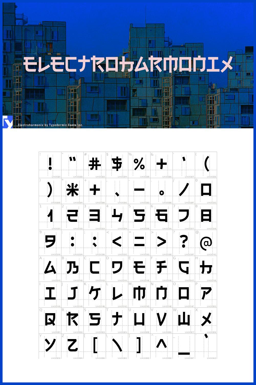 This is a pseudo-Japanese display typeface inspired by katakana, hiragana and kanji.