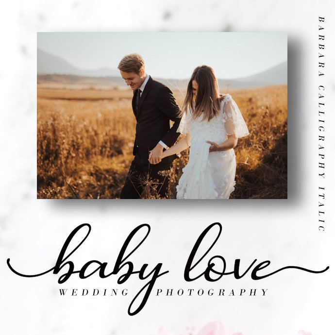 Barbara Calligraphy Script Font Preview Image.