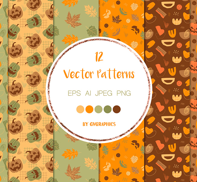 Halloween Pumpkins and Fall Leaves Vector Patterns and Seamless Tiles main cover.