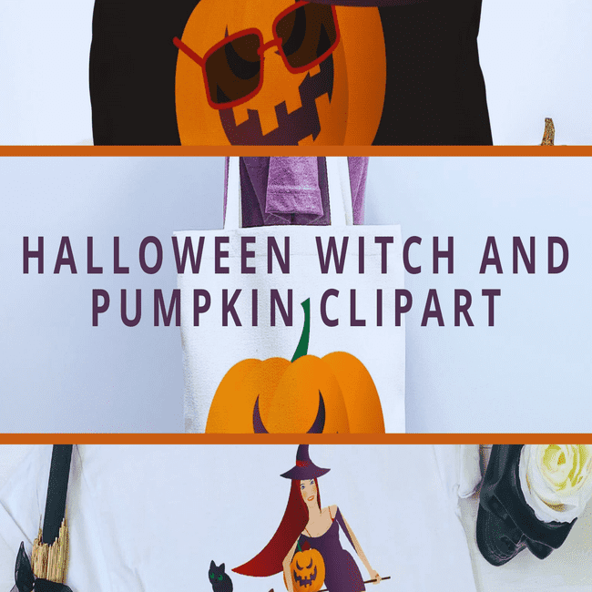 Halloween Witch and Pumpkin Clipart main cover.