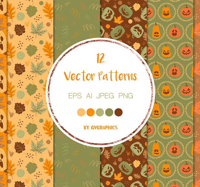Halloween Pumpkins and Fall Leaves Vector Patterns cover image.