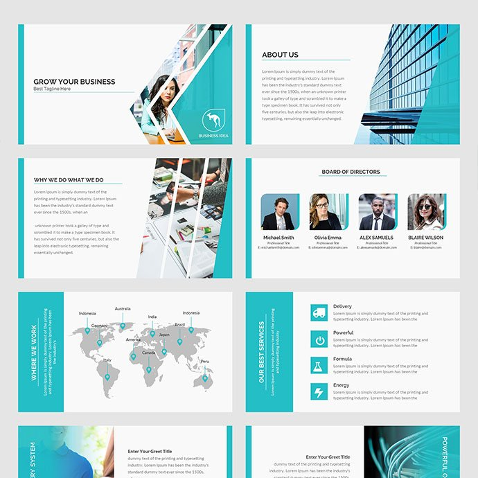 The template is full of elements that will add new colors to your presentation.