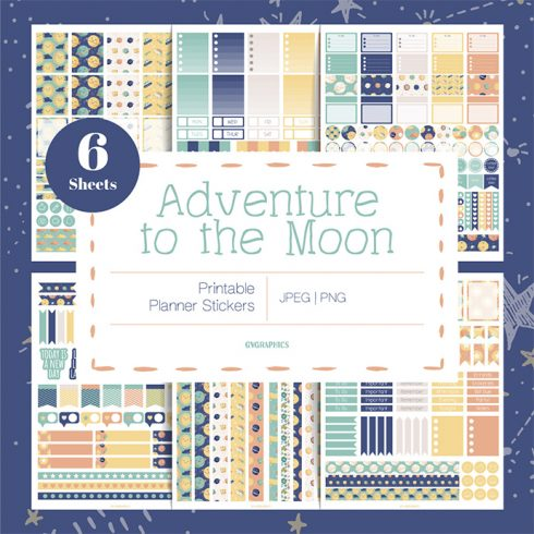 Adventure to the Moon Planner Stickers main cover.