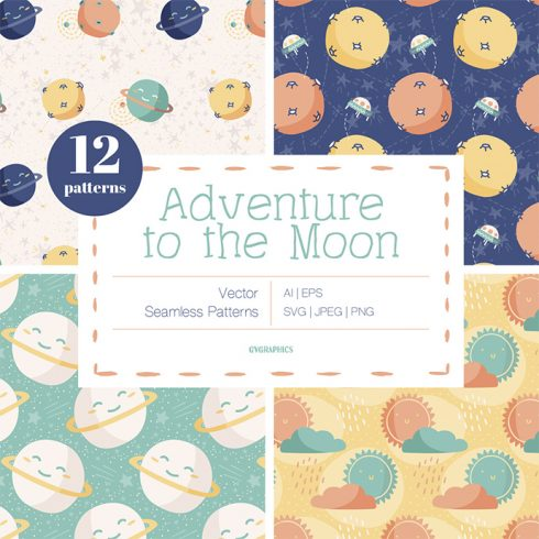 Adventure to the Moon Vector Patterns main cover.