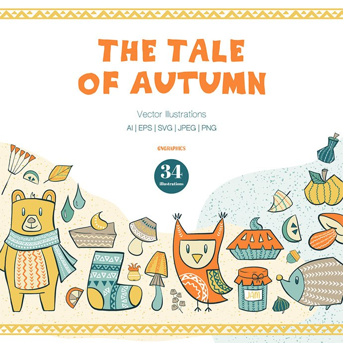 The Tale of Autumn Vector Illustrations main cover.