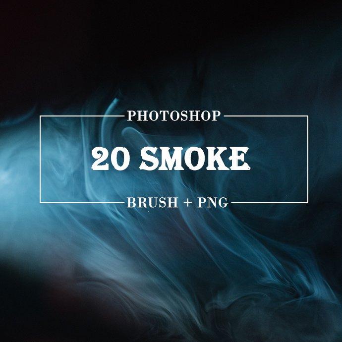 20 Smoke Photoshop Brush main cover.