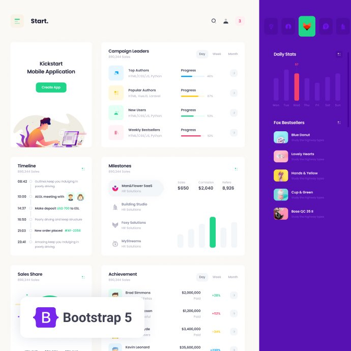 Start HTML Free - Bootstrap 5 Admin theme cover image.