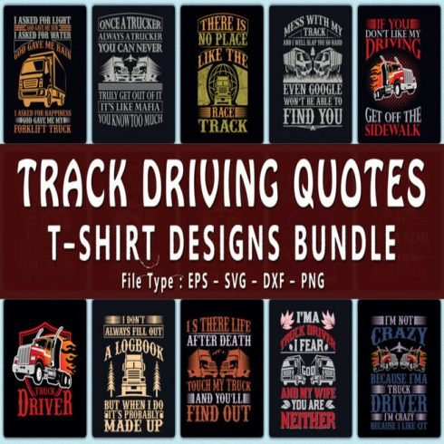 Trendy 20 Track Driving Quotes T shirt Designs Bundle main cover. 1