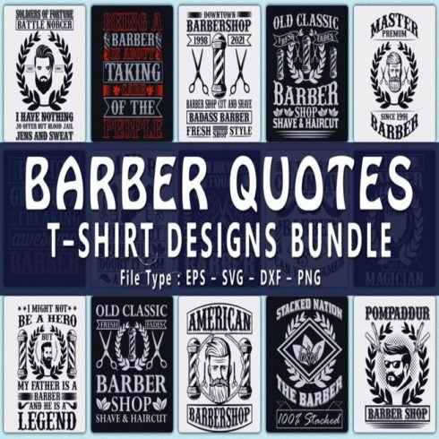 Trendy 20 barber quotes t shirt designs bundle main cover.