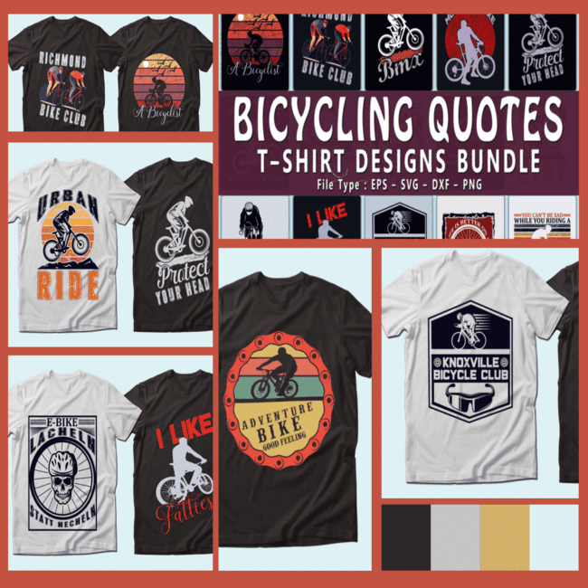 Trendy 20 bicycle quotes t shirt designs bundle cover image.