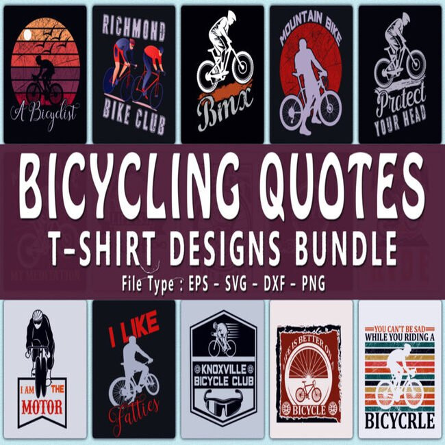 Trendy 20 bicycle quotes t shirt designs bundle main cover.