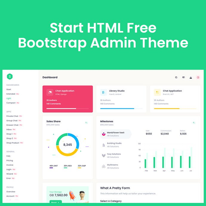 Start HTML Free – Bootstrap 5 Admin Theme main cover.