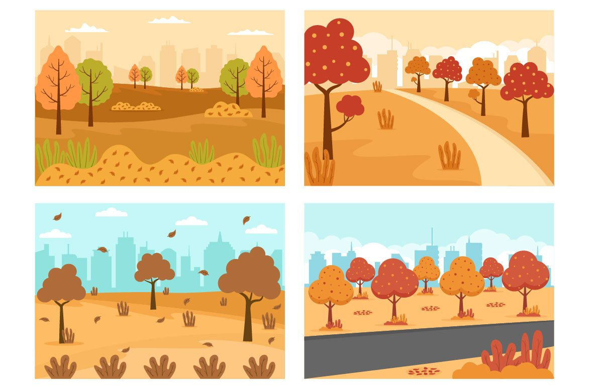 Beautifully illustrated autumn with red and yellow trees.