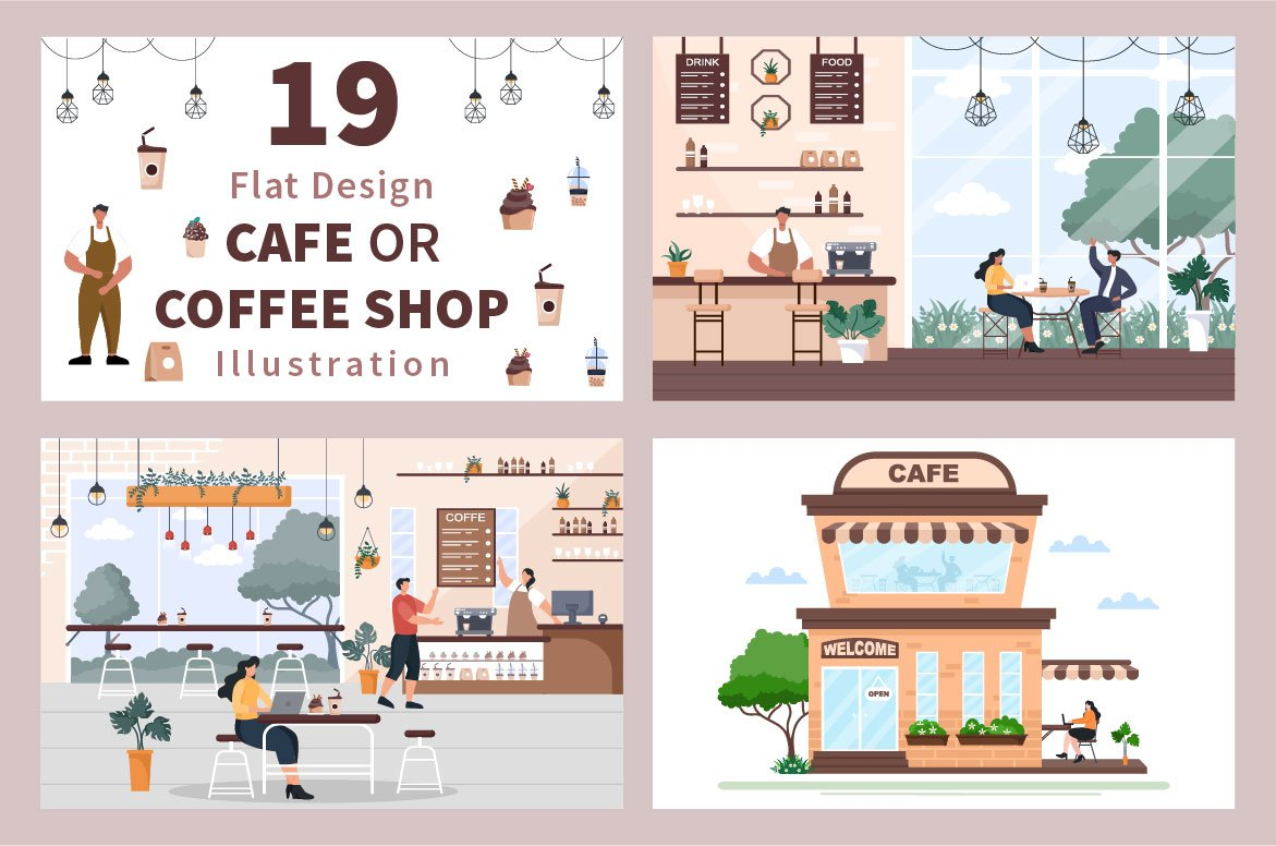 A great illustration of a city cafe in warm colors.