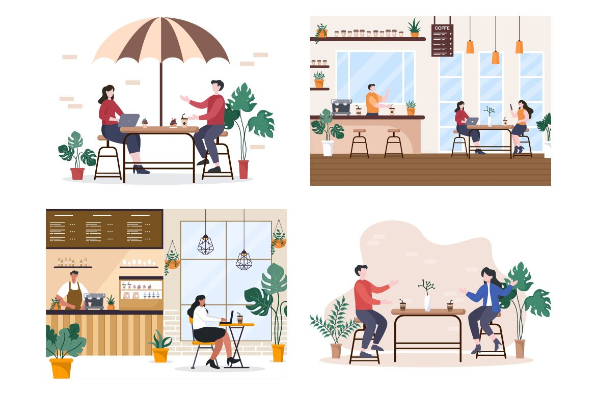 Cafe-style graphics are relevant for showcasing an urban project.