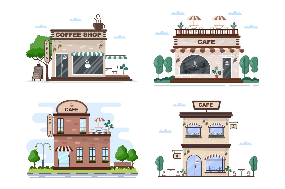 This collection presents several options for the exterior of the cafe.
