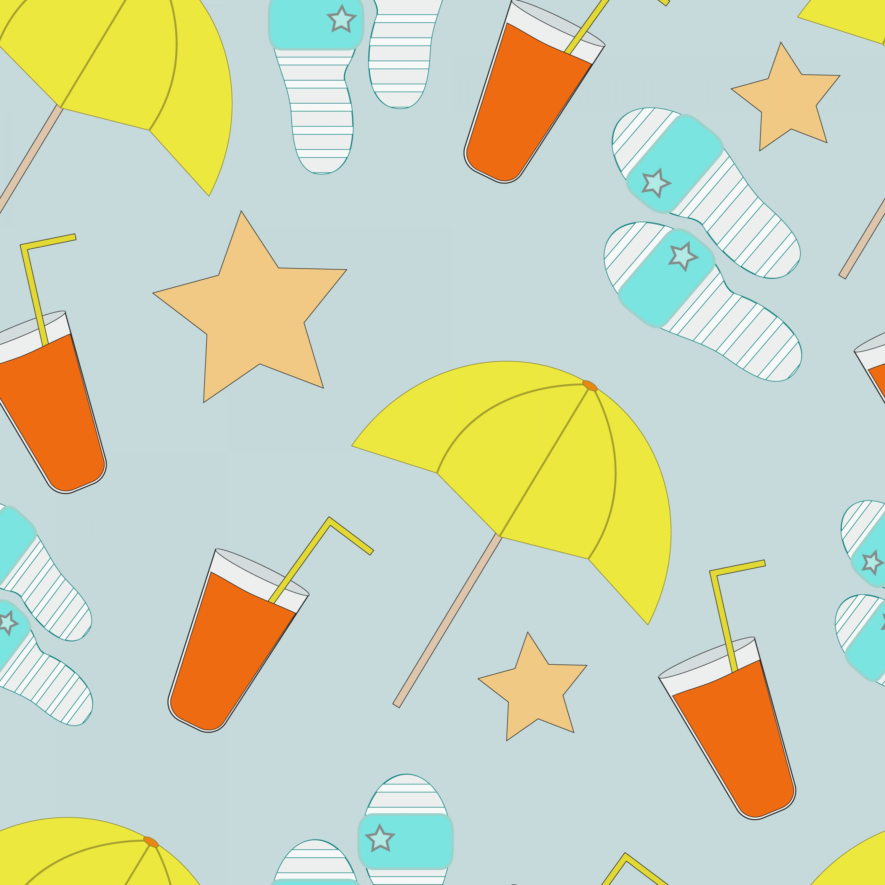 A vibrant image with umbrellas and cocktails that creates a summer mood.