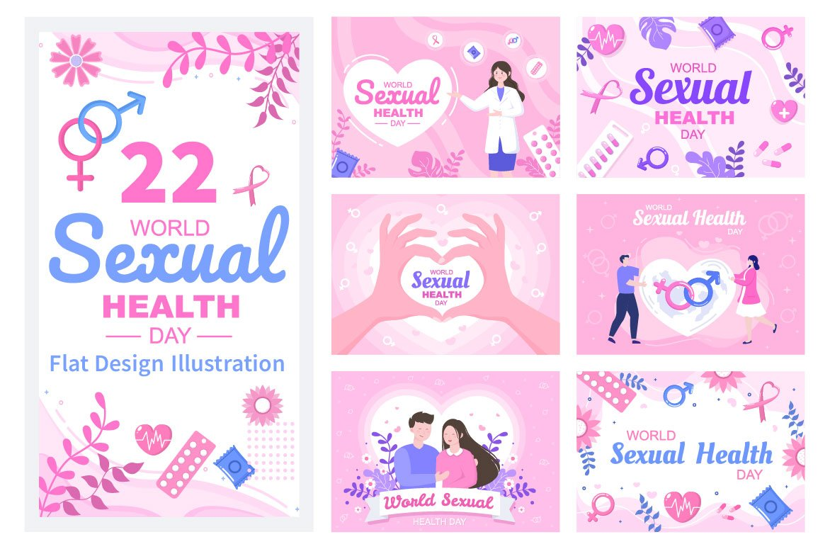 Pink illustrations for displaying women's issues.