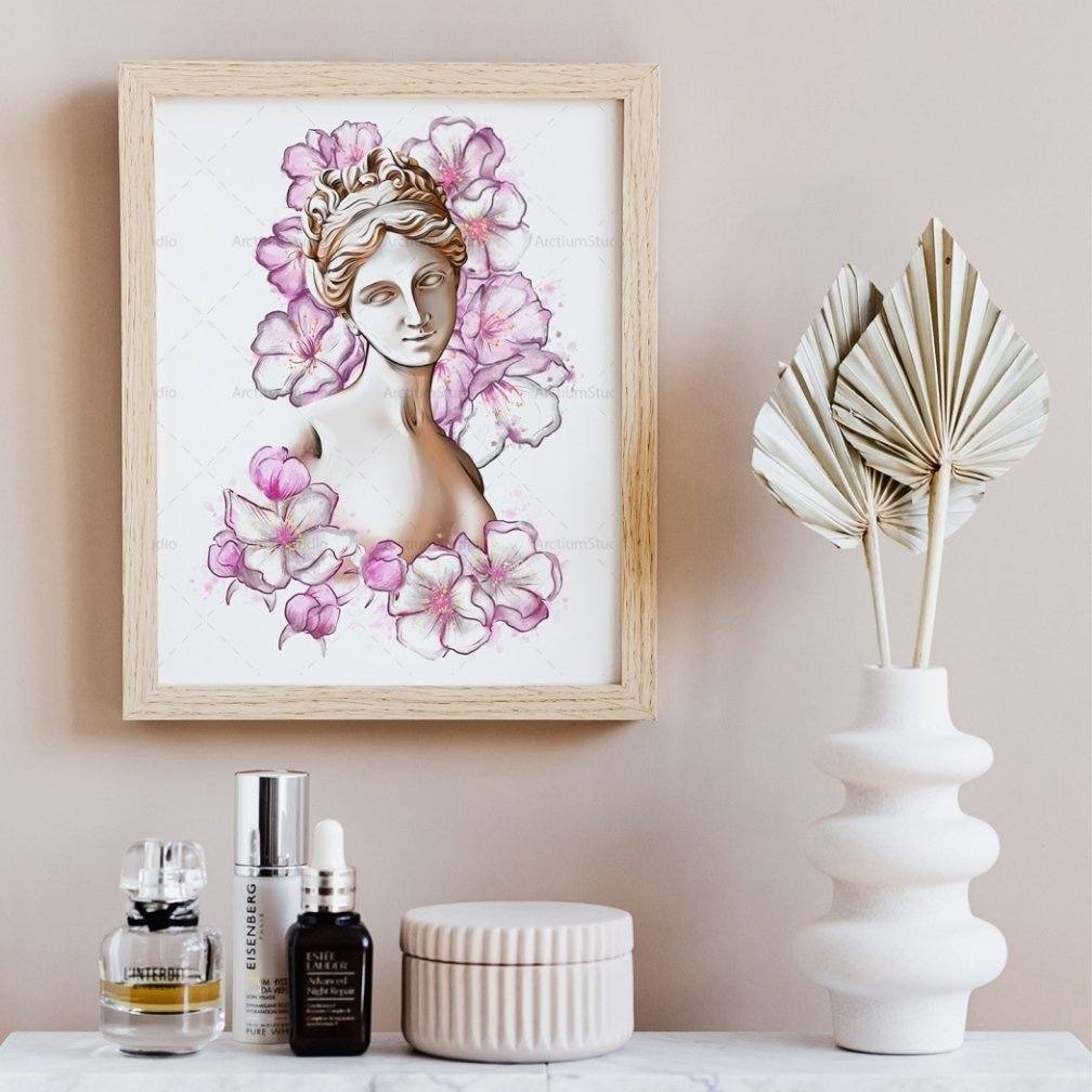 Aphrodite in Flowers Clipart Digital Download cover image.