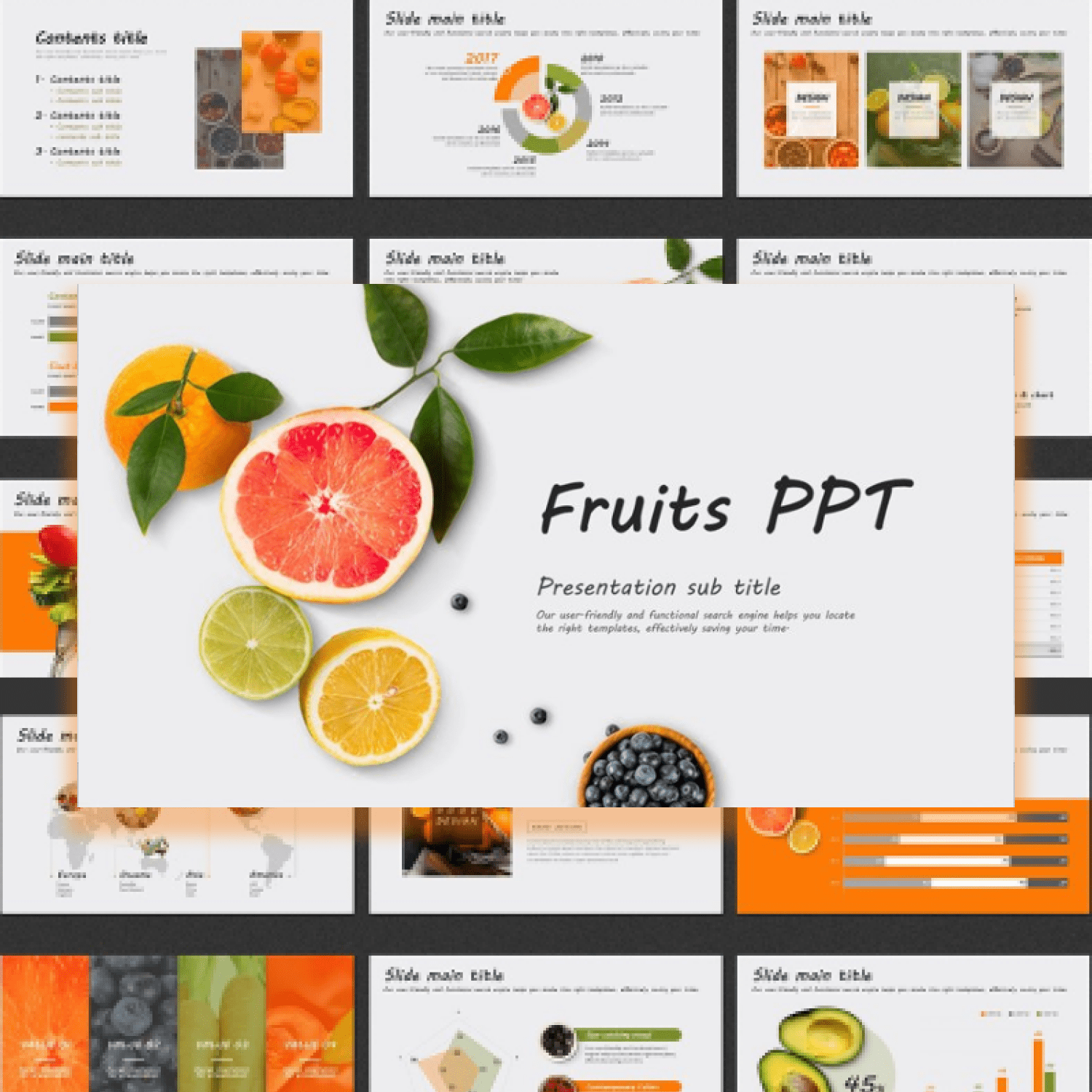 Fruits PPT Template main cover.