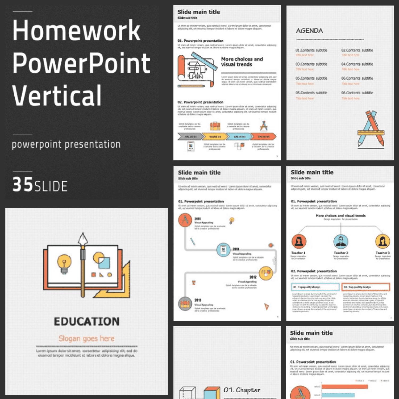 Homework PowerPoint Vertical main cover.