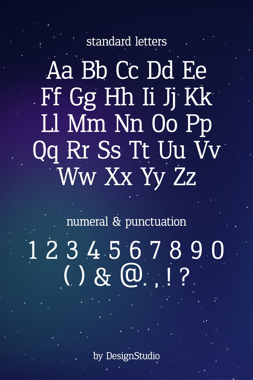 Standard letters of the Aurora Monospaced Serif Font.