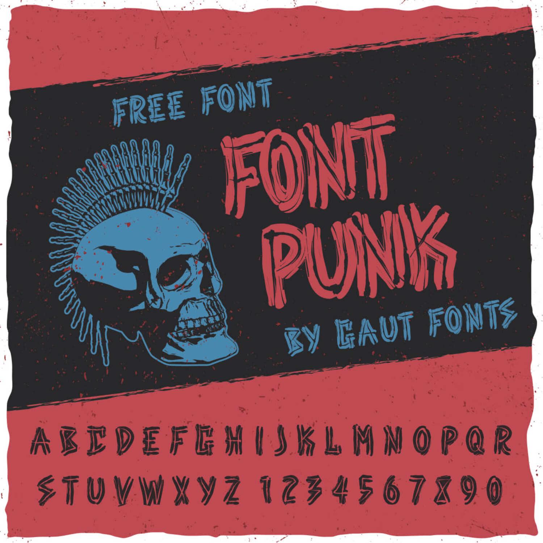 Free punk font main cover.