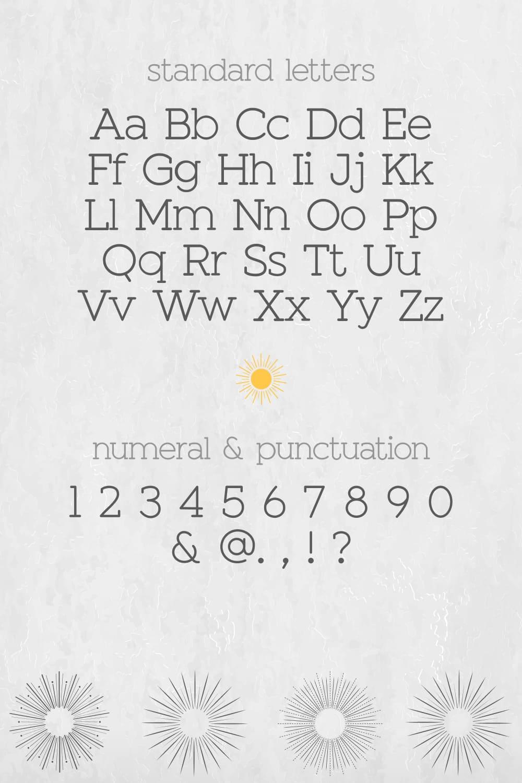 Standard letters of the Sunshine Slab  Sans Serif Font.