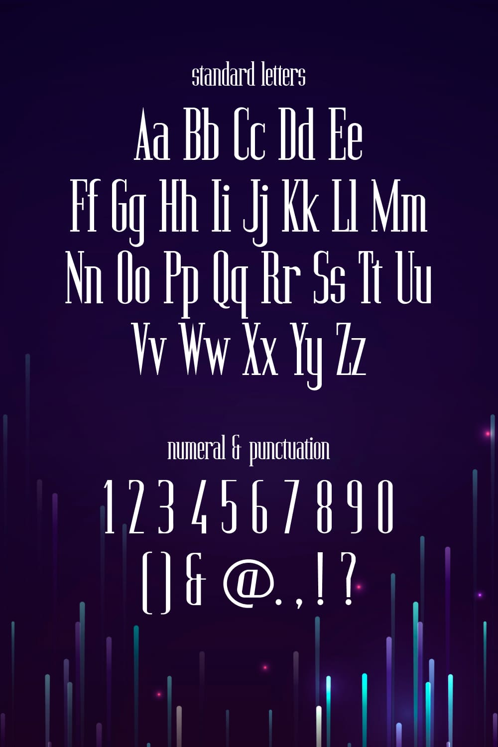 Standard letters of the Twinkling Monospaced Serif Font.