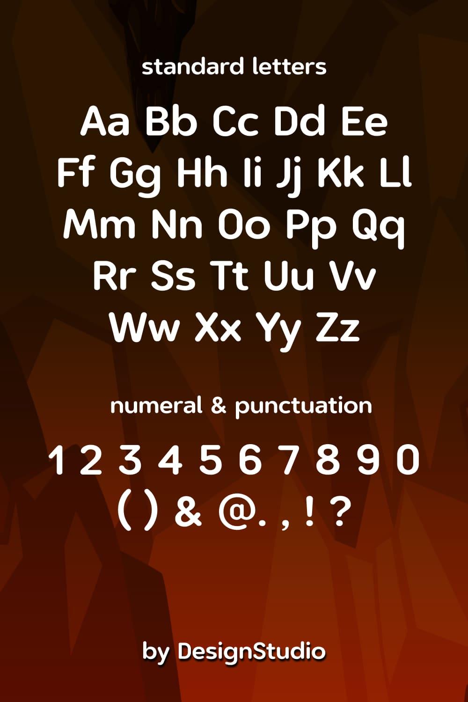 Standard letters of Volcano Monospaced Sans Serif Font.