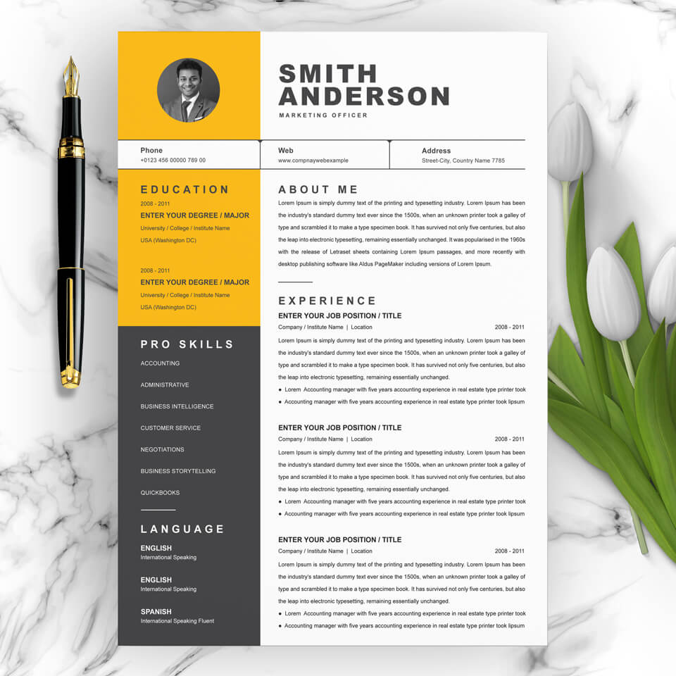 A general view of the yellow template. Marketing Officer Resume Template.