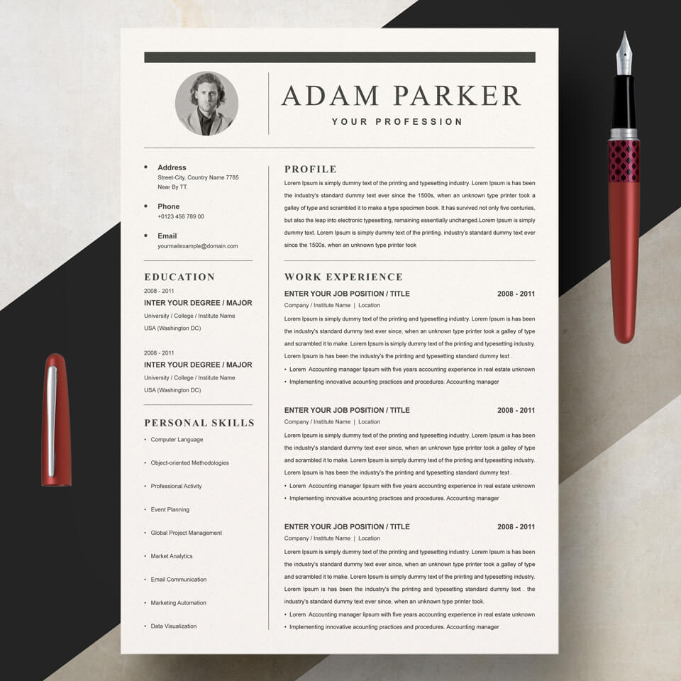A general view of the yellow template. Web Developer Resume Template.