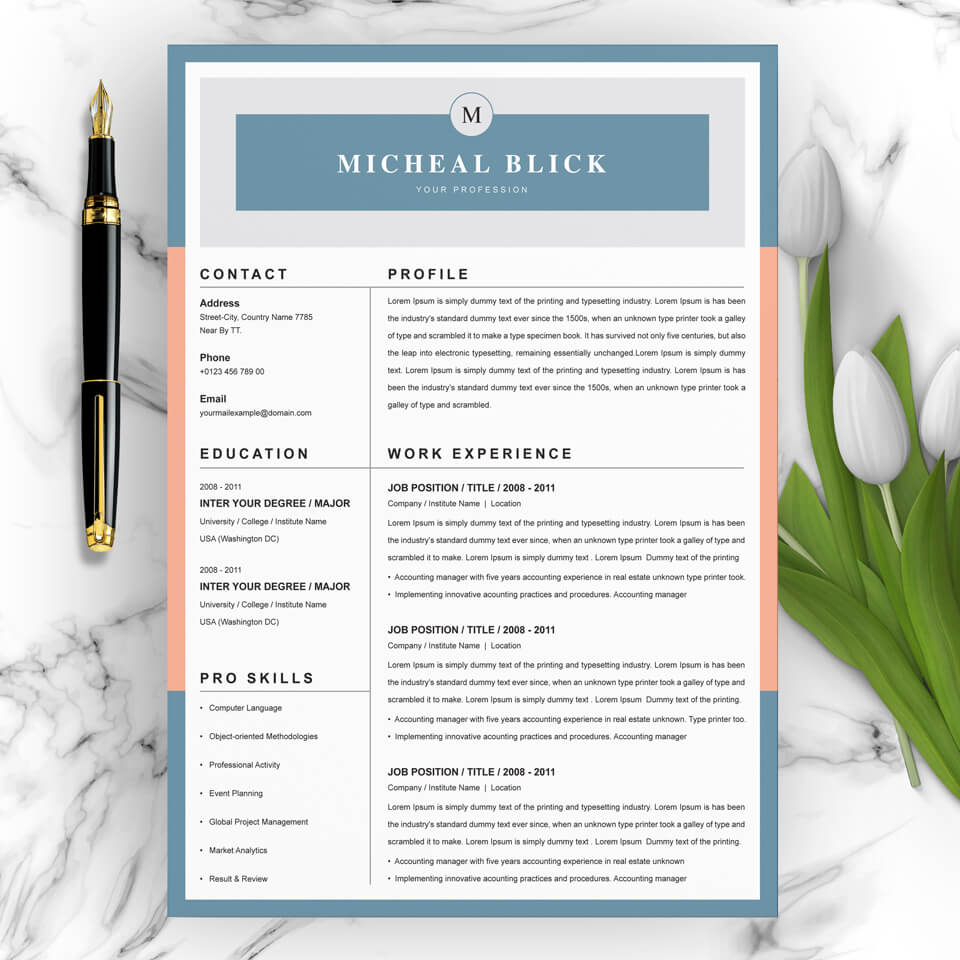 A general view of the yellow template. Application Developer Resume Template.